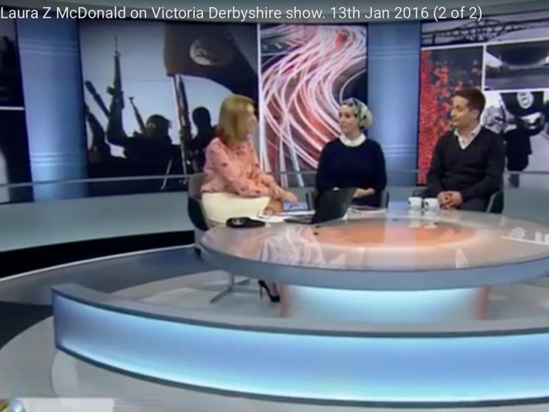 Laura Zahra McDonald, BBC 1, Victoria Derbyshire show. 13th Jan 2016 (2 of 2)